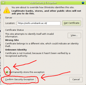 klik Confirm Security Exception